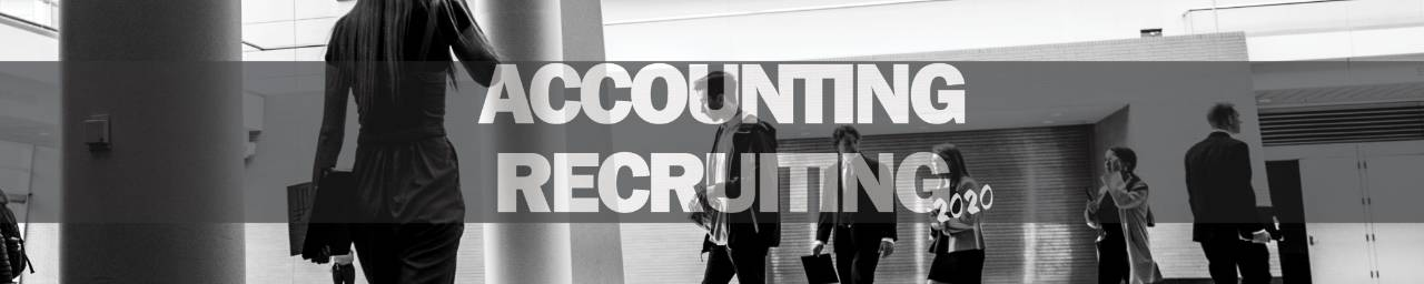 people walking in black and white with accounting recruiting words over